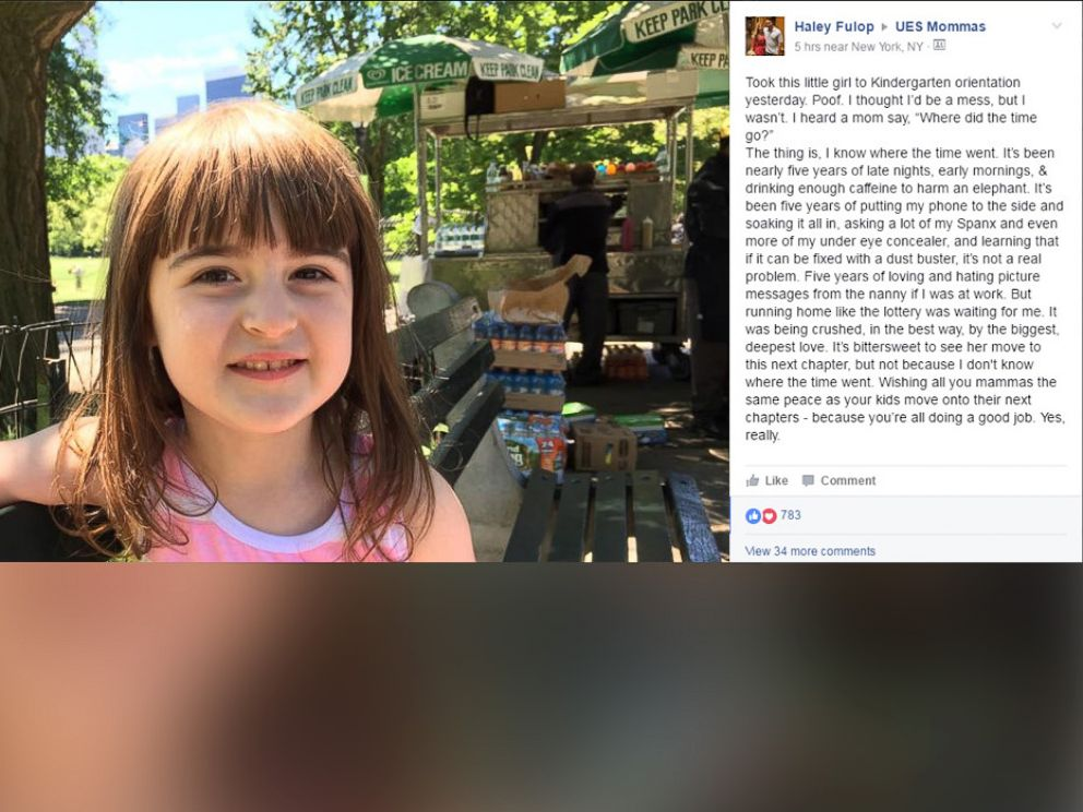 PHOTO: New York City mom Haley Fulops Facebook post at her daughters kindergarten orientation went viral.