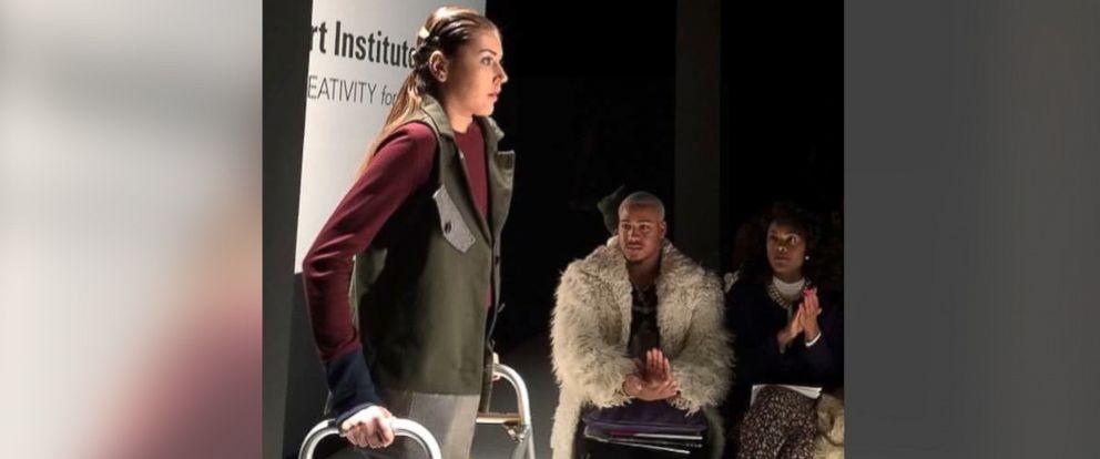 PHOTO: Maryland teen Megan Silcott walks in a New York Fashion Week show, Feb. 17, 2015.