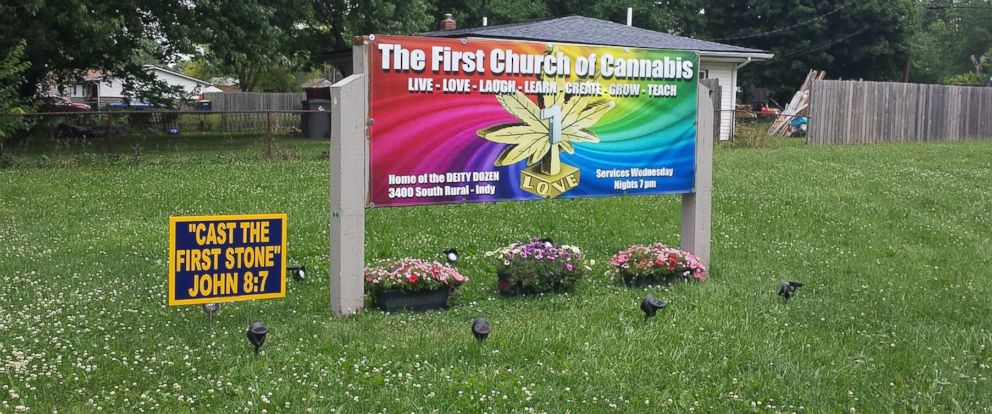 """PHOTO: The First Church of Cannabis, located in Indiana, treats the flowering herb as a sacrament. Seen here, a photo of a sign advertising services was posted on the Facebook page for """"The First Church of Cannabis"""" on June 14, 2015."""