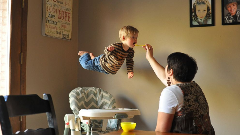 Wil takes flight while his mom feeds him.