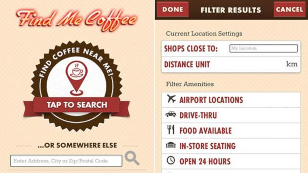 PHOTO: The Find Me Coffee application is designed to locate nearby coffee vendors as well as search other locations, submit ratings and reviews, and retrieve phone numbers to place orders in advance.