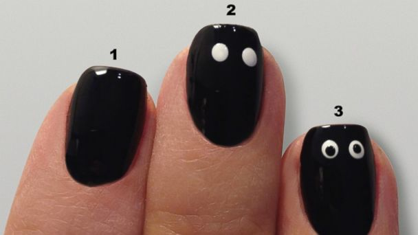 PHOTO: Googly eyes manicure tutorial.
