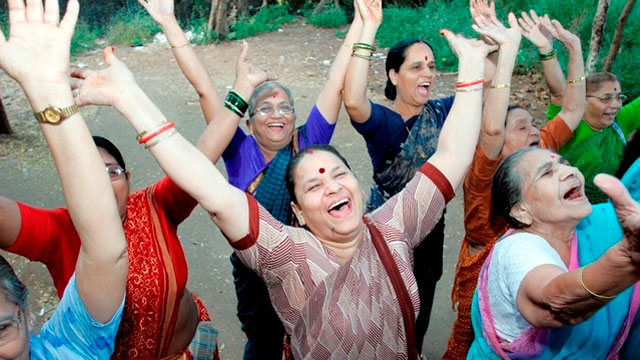 "PHOTO: Great news: Laughter yoga is a real thing. It incorporates yogic breathing, ""childlike playfulness"" and visualization, usually in a small-group setting."