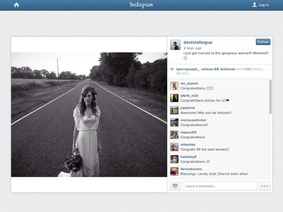 PHOTO: On Saturday, Oct. 18, the pair of grammers wed and LaFargue posted this photo of his new bride.