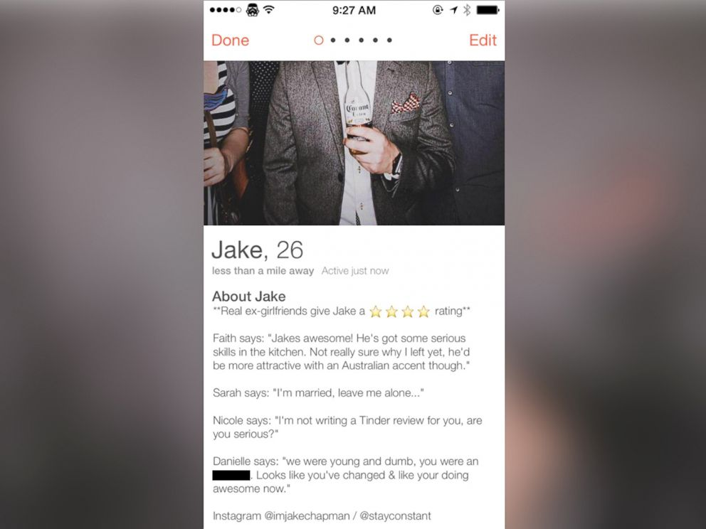 PHOTO: Jake Chapman asks ex-girlfriends to review him on the dating app Tinder.