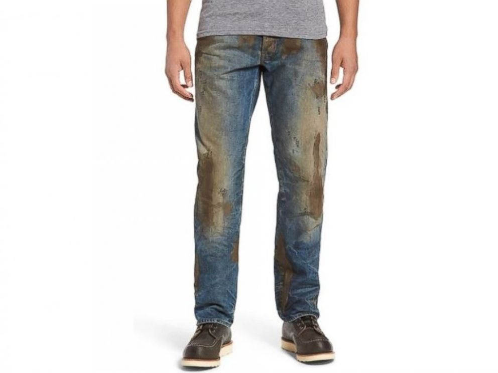 PHOTO: Nordstrom sells the Barracuda Straight Leg Jeans for $425, which feature fake caked-on mud.
