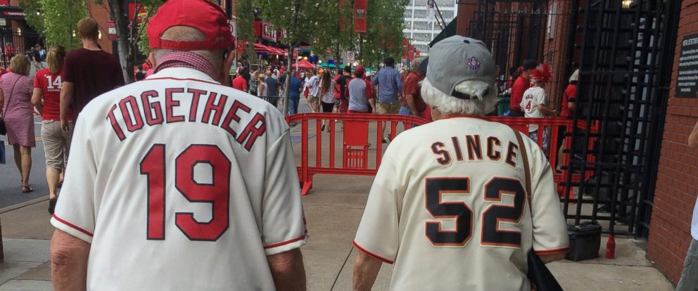 fe79c758a6 Elderly Couple's Cardinals-Giants Jerseys Say It All - ABC News