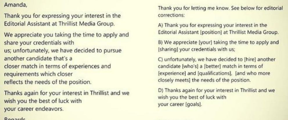 photo amanda mester responded to a job rejection from thrillist media group