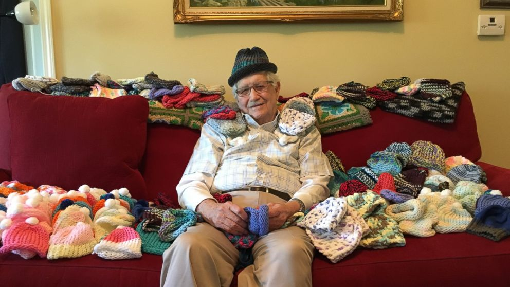 86-Year-Old Man Learns to Knit to Make Hats for Preemies - ABC News 2e78efaf5fa