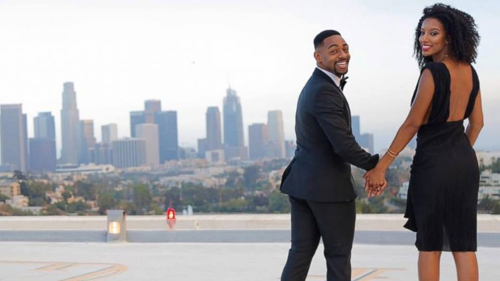 Kornelius Bascombe, 27, proposed to his girlfriend of four years, Rachel Jordan, 23, with a breathtaking rooftop view in Los Angeles.