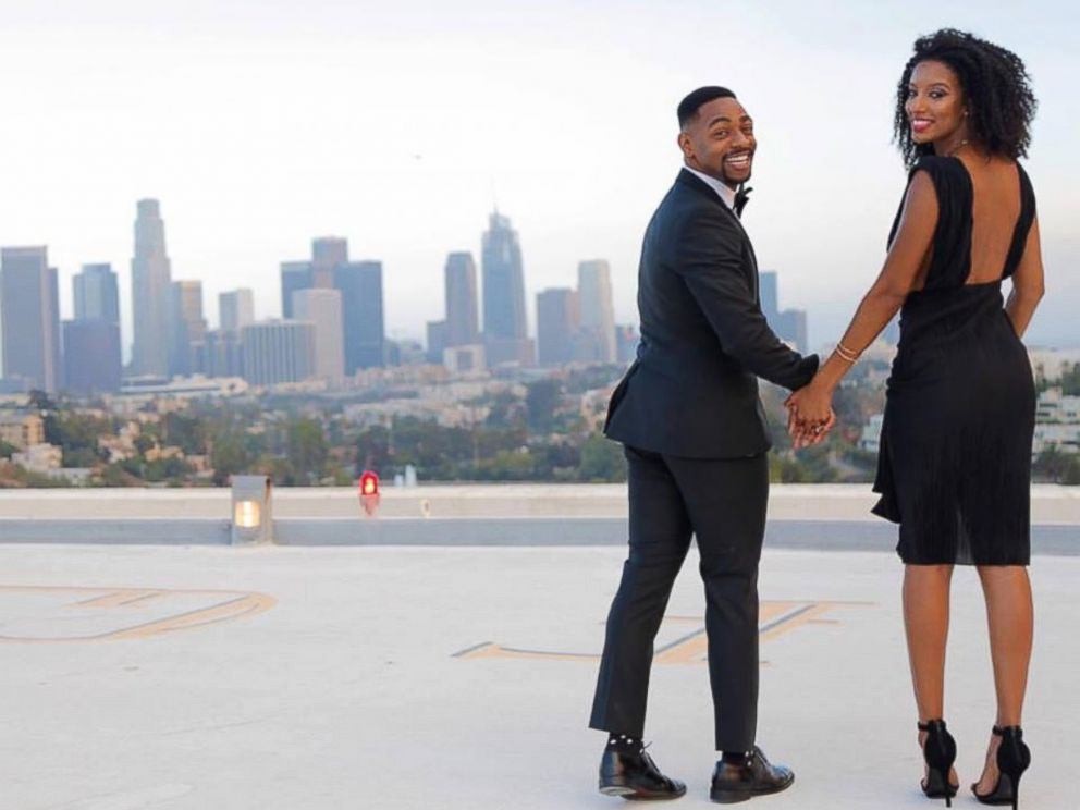 PHOTO: Kornelius Bascombe, 27, proposed to his girlfriend of four years, Rachel Jordan, 23, with a breathtaking rooftop view in Los Angeles.