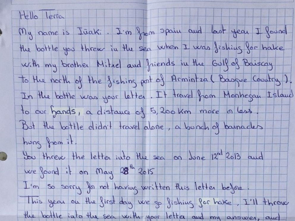 photo a maine girls message in a bottle was discovered by a fisherman in spain