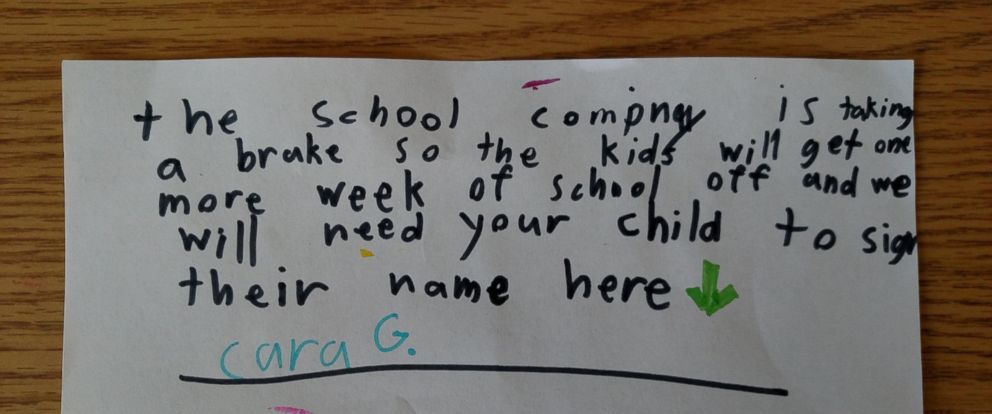 PHOTO: Cara Grimard, 7, wrote a prank letter to her father that went viral over the weekend.