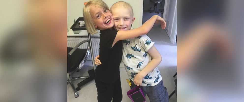 PHOTO: Libby Tucker-Spiers cut her long locks off for her best friend Aiden, who is battling cancer.