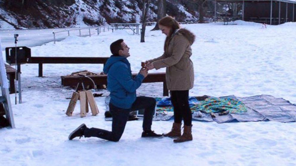 Jimmy Gillespie proposes to Liz Jensen in Provo, Utah on Jan. 25, 2015.