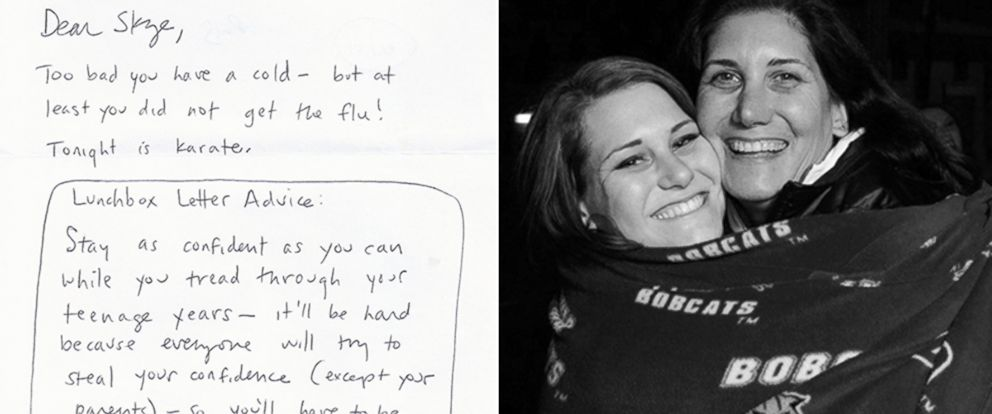 PHOTO: Skye Goulds mother wrote her inspiring notes in her lunchbox, which she has kept and revisted 11 years later.