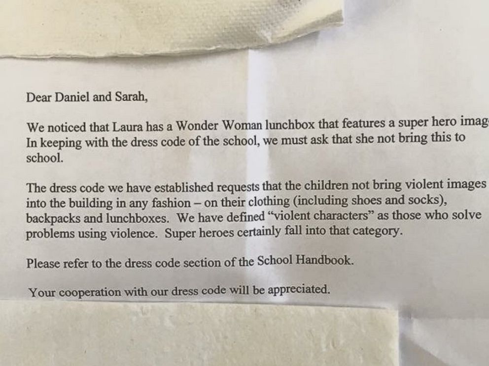 PHOTO: An Imgur user says a school banned his friends daughter from bringing a Wonder Woman lunchbox to school.