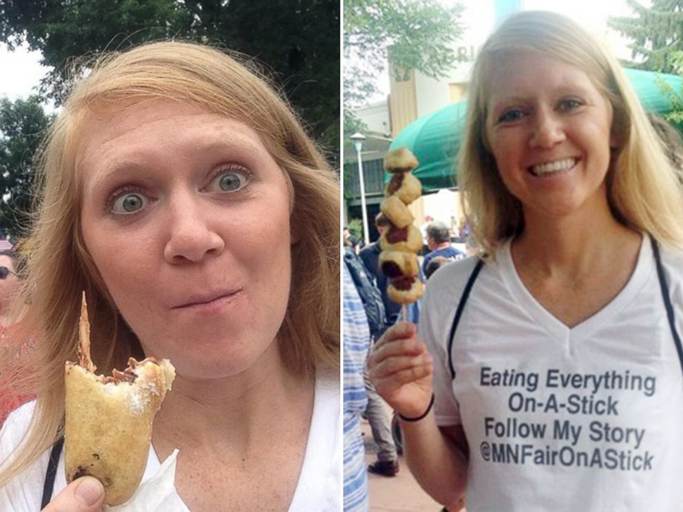 PHOTO: Mandy Colten eating fried Snickers and a sausage croissant.
