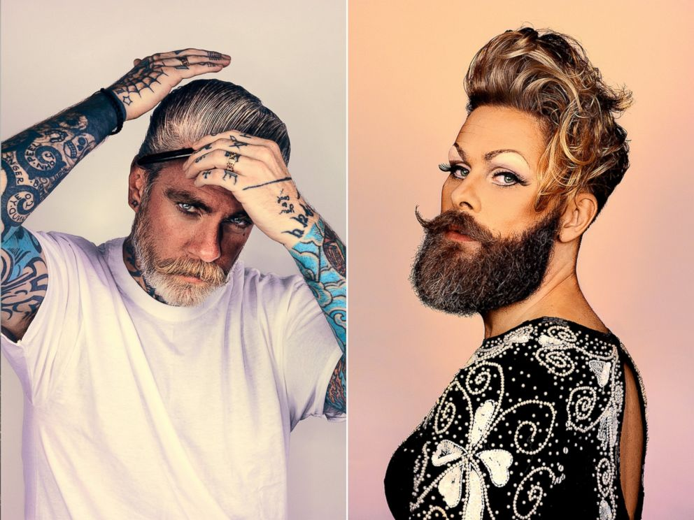 PHOTO: Tattooist Miles Better and drag queen Stefan Bostrom were photographed for a series on beards by photographer Brock Elbank.