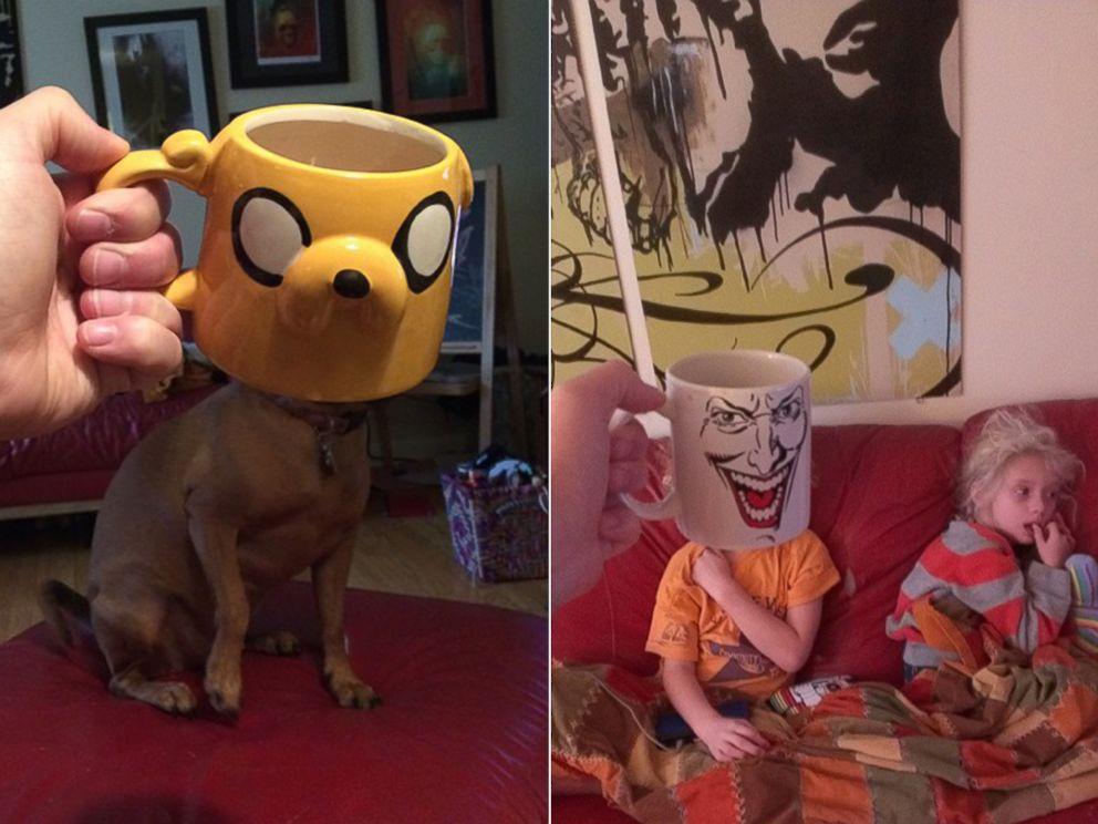Photo Lance Curran Creates Superhero Mugshots Of His Kids Using Comic Book Character Coffee Mugs