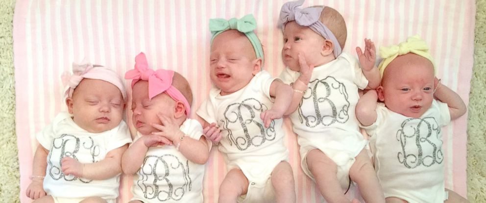 PHOTO: The Busby quintuplets - Ava, Olivia, Hazel, Parker and Riley - are now all home from the hospital after their April 8, 2015, birth.