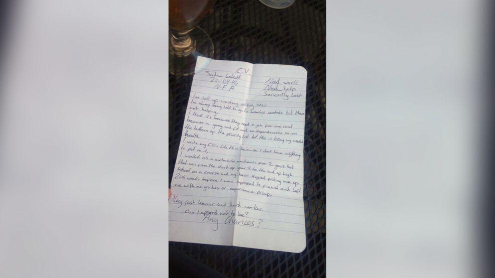 Teen Tweets Homeless Man S Hand Written Resume To Help Him Land