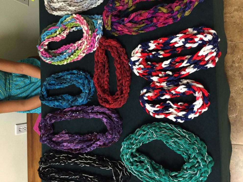 PHOTO: Aurora Smiths mother Leigh Isenhower taught her how to make the scarves.