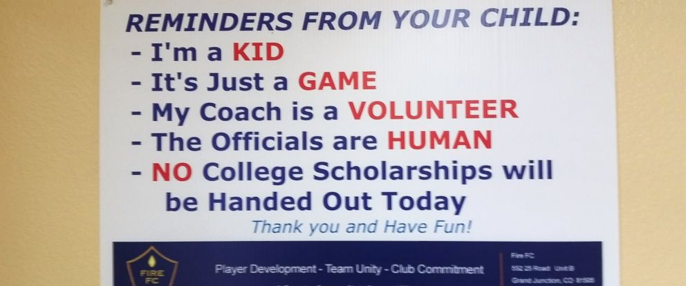 PHOTO: Fire FC has been using these signs to promote better sportsmanship among parents of their youth soccer players.