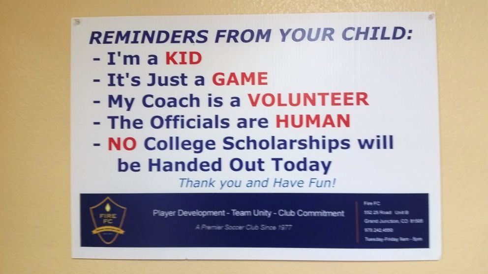 Fire FC has been using these signs to promote better sportsmanship among parents of their youth soccer players.