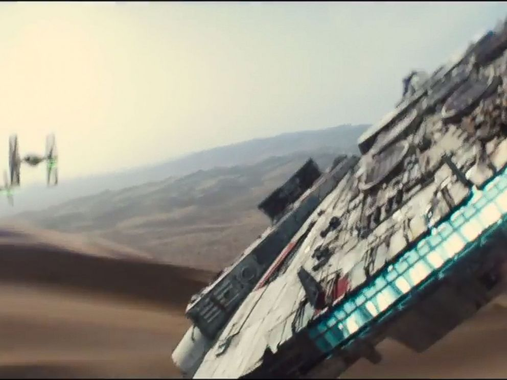 PHOTO: The Millennium Falcon fights off TIE fighters in this screen grab from the official teaser trailer for Star Wars: The Force Awakens.