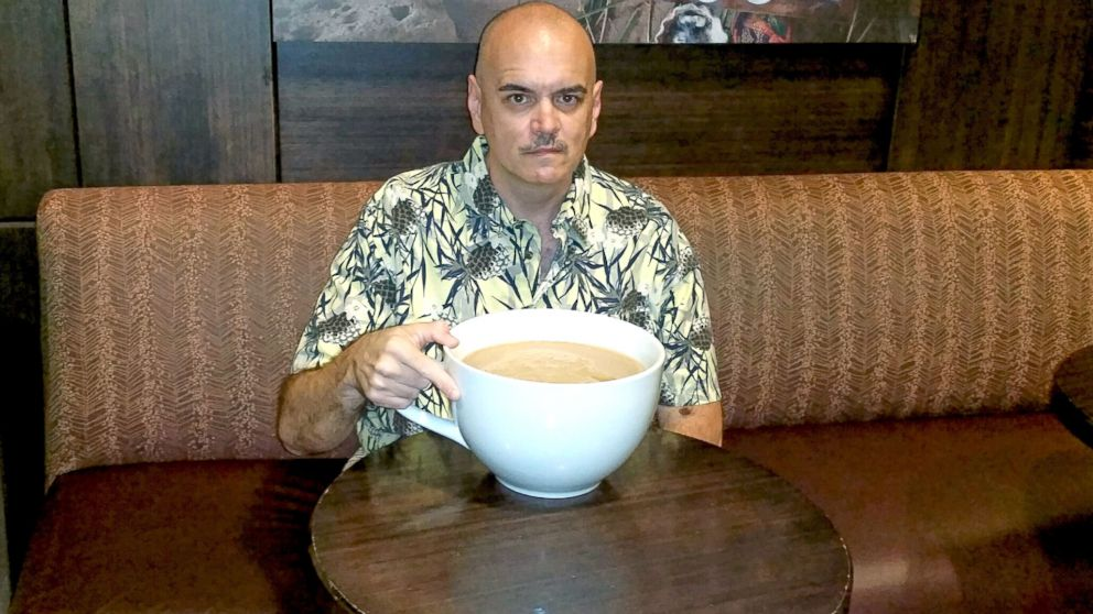 Bill Lewis With His Record Breaking 160 Ounce Starbucks Latte