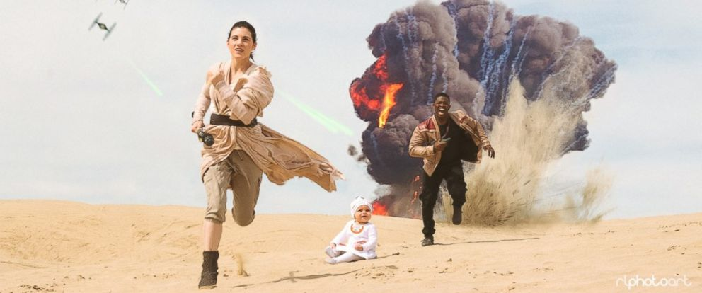 "Viral family Victor Sine, his fiancée Julianne Payne and her child Addie recreated a scene from ""Star Wars: The Force Awakens."""