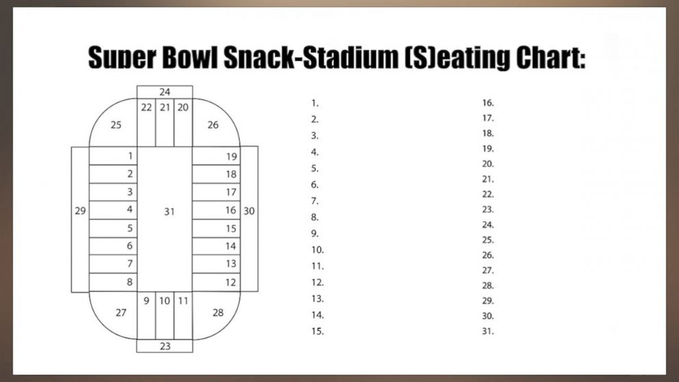 PHOTO: Try serving your food in a snackadium this Super Bowl. Seating Chart.