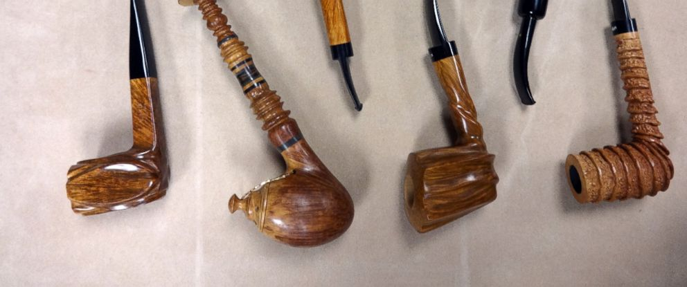 PHOTO: Handsome hand made pipes by Richard Lewis, a Minneapolis pipe maker and seller.