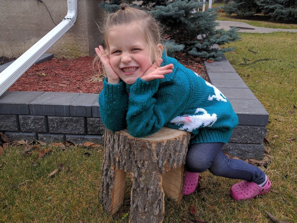 PHOTO: Shae Culley, 4, got her name carved out of the stump and a small stool as a special surprise after her beloved tree was cut down.