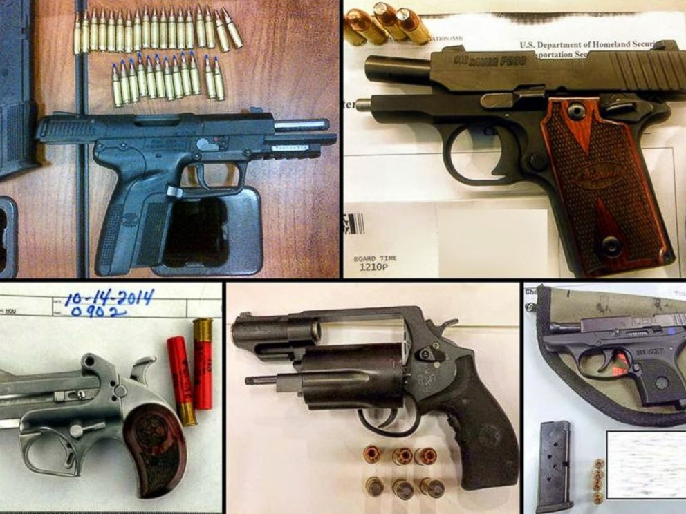PHOTO: A handout image from the TSA shows some of the guns confiscated from travelers at airports around the U.S. in October, 2014.