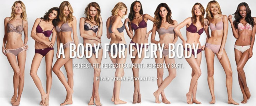 """PHOTO: Victorias Secret ad """"A Body For Every Body."""""""