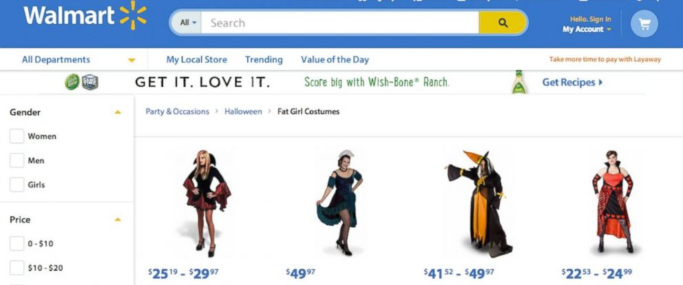"""PHOTO: A section of Walmarts e-commerce site labeled """"Fat Girl Costumes"""" drew criticism days before Halloween."""