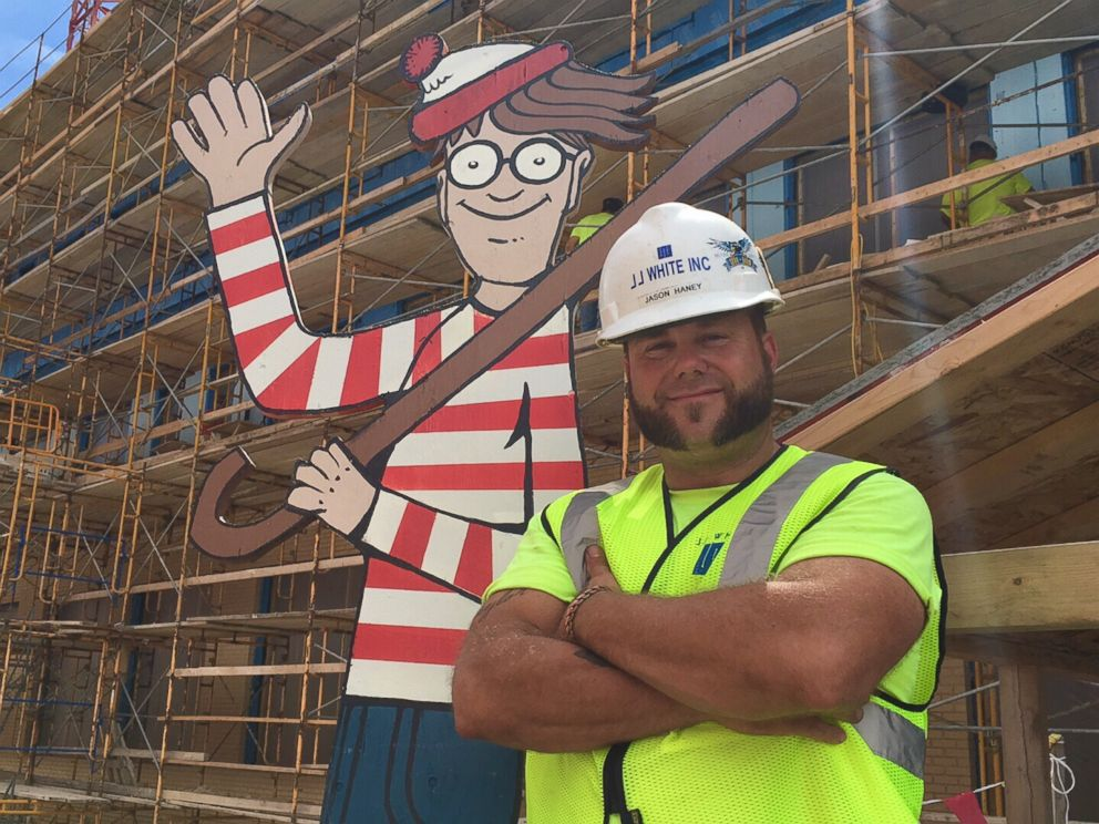 construction worker plays real life game of where s waldo with