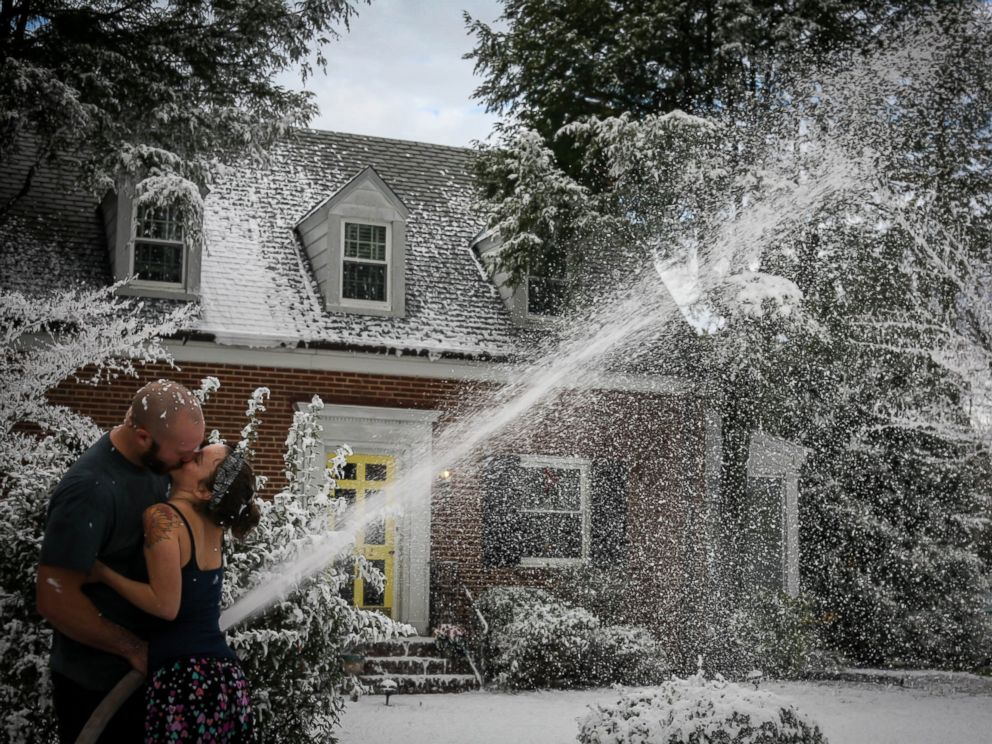 photo trevor smithson used fake snow to create a white christmas for his wife