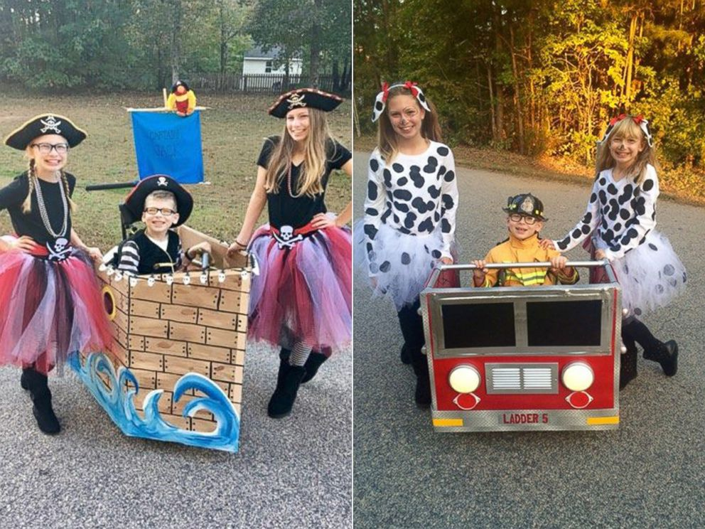 PHOTO: Jackson seen on a previous Halloween holiday with his sisters, Kara Mcilroy, 14 and Maggie Mcilroy, 11, while dressed in his pirate ship costume and dressed in his fire truck costume.