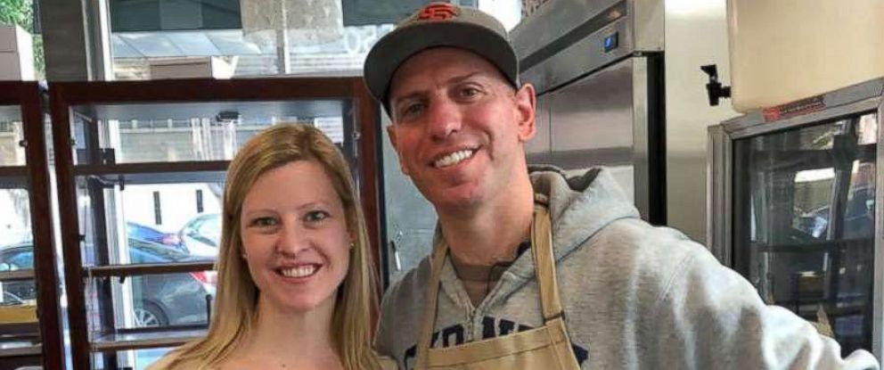 PHOTO: Project Homeless Connect CEO, Meghan Freebeck, on National Muffin Day with founder Jacob Kaufman on Jan. 28, 2018.