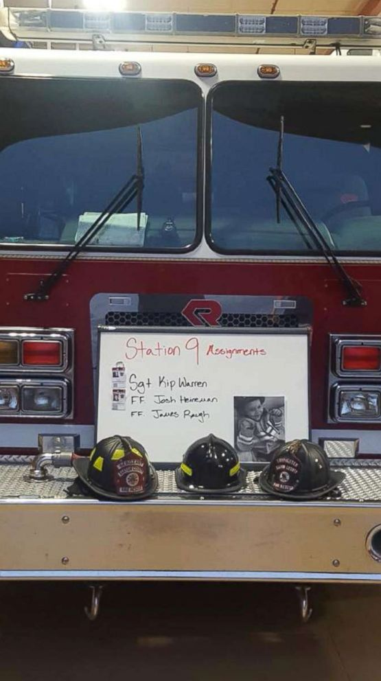 PHOTO: Bartow County Fire Department placed the late James Raugh on their assignment board on Jan. 11, 2018.