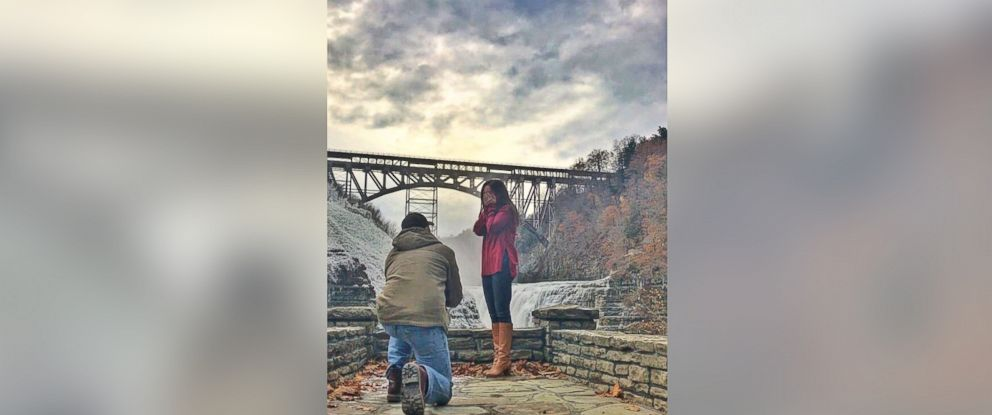 PHOTO: Kayleigh Fahey said yes after her boyfriend James Regatuso popped the question on Nov. 12, 2017 inside Letchworth State Park in Castile, N.Y.