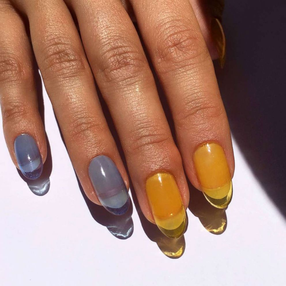 PHOTO: These nails are made with translucent color acrylic so you can see through them.