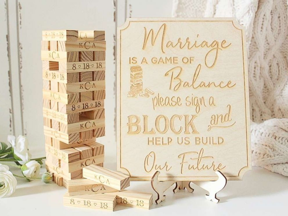 PHOTO: Personalized Jenga games are replacing the traditional guest books.