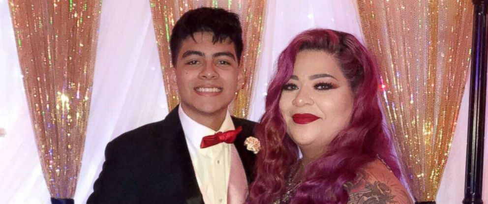 PHOTO: Joe Moreno, 18, escorted his mother, Vanessa Moreno, to the senior dance on April 13, 2018 in Texas.