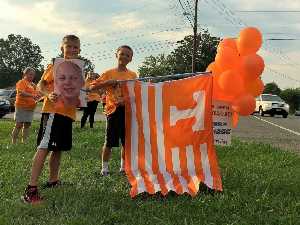 PHOTO: Johnny Sawyer Dyer, 7, was welcomed home with a parade in his hometown of Corryton, Tennessee, after battling leukemia for months at two childrens hospitals. Sawyer is now in remission.