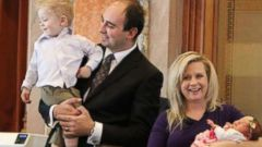 PHOTO: Congresswoman Megan Jones first day back in Des Moines at work after giving birth to her daughter, Alma.