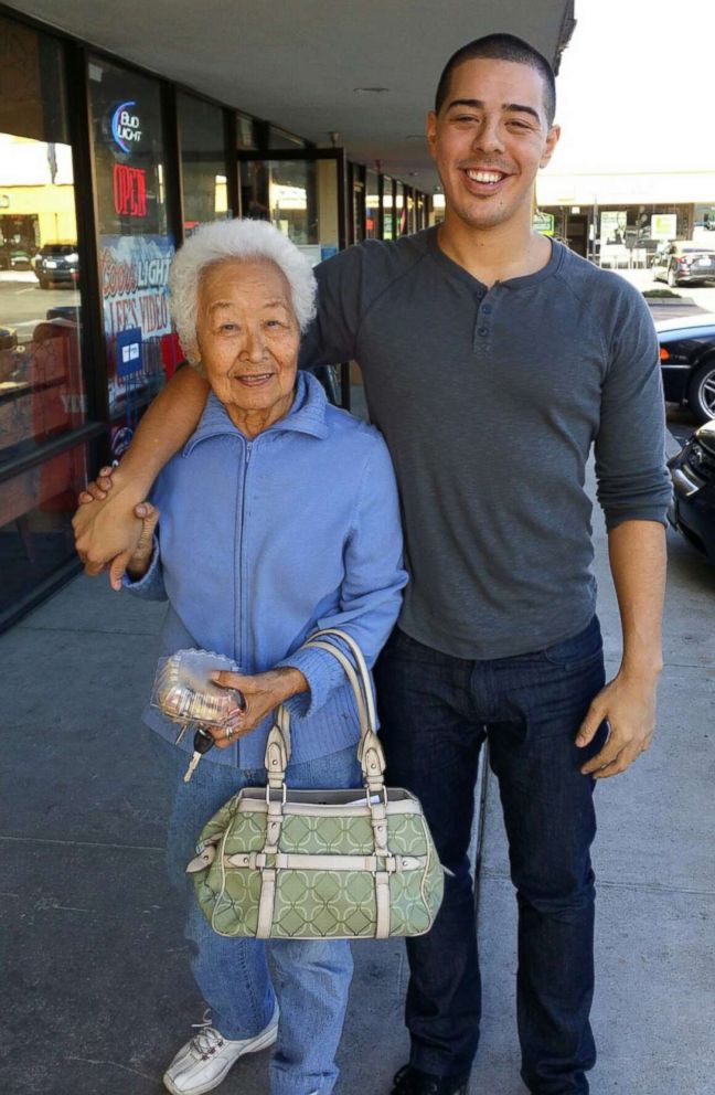 PHOTO: Jozen Cummings with his late grandmother, Katsuko Potter.